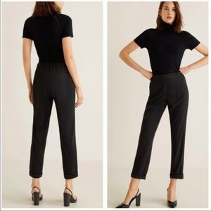 MANGO ankle suit pants with panels in black-NWT